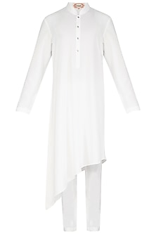White Asymmetric Kurta Set by Nautanky By Nilesh Parashar Men