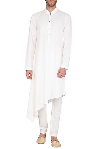 White Asymmetric Kurta Set by Nautanky By Nilesh Parashar Men