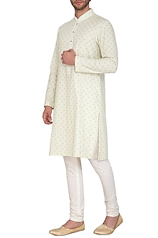 White Polka Dot Printed Kurta Set by Nautanky By Nilesh Parashar Men