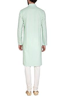 Mint Blue Stripes Printed Kurta Set by Nautanky By Nilesh Parashar Men