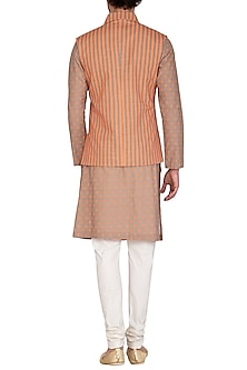 Brown & Orange Printed Jacket With Kurta Set by Nautanky By Nilesh Parashar Men