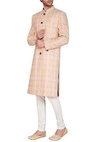 Beige & Blush Pink Printed Sherwani Set by Nautanky By Nilesh Parashar Men