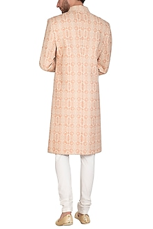 Beige & Blush Pink Printed Sherwani Set by Nautanky By Nilesh Parashar Men
