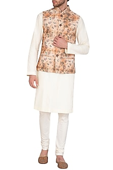 Rust & Beige Bhagalpuri Printed Jacket With Kurta Set by Nautanky By Nilesh Parashar Men