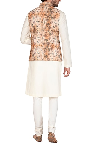 Rust & Beige Bhagalpuri Printed Jacket With Kurta Set by Nautanky By Nilesh Parashar Men