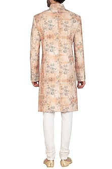 Beige Printed Sherwani Set by Nautanky By Nilesh Parashar Men