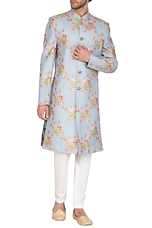 Powder Blue Foil Printed Sherwani Set by Nautanky By Nilesh Parashar Men