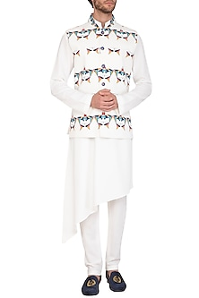 White Printed Jacket With Kurta Set by Nautanky By Nilesh Parashar Men