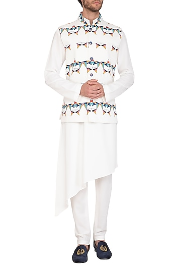 White Printed Jacket With Kurta Set by Nautanky By Nilesh Parashar Men