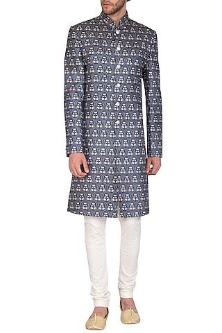 Royal Blue Printed Sherwani Set by Nautanky By Nilesh Parashar Men