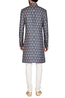 Royal Blue Printed Sherwani Set by Nautanky By Nilesh Parashar Men