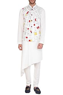 White & Grey Kurta Set With Geometric Printed Jacket by Nautanky By Nilesh Parashar Men