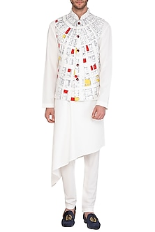 White & Grey Kurta Set With Geometric Printed Jacket by Nautanky By Nilesh Parashar Men
