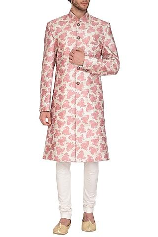 Blush Pink Printed Sherwani Set by Nautanky By Nilesh Parashar Men