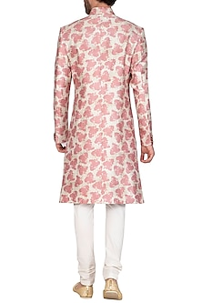 Blush Pink Printed Sherwani Set by Nautanky By Nilesh Parashar Men
