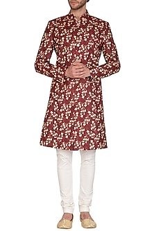 Brown Printed Sherwani Set by Nautanky By Nilesh Parashar Men