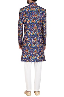 Blue Printed Sherwani Set by Nautanky By Nilesh Parashar Men