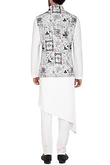 White & Black Printed Jacket With Kurta Set by Nautanky By Nilesh Parashar Men
