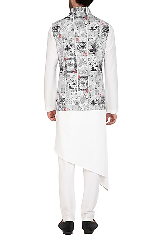 White & Black Printed Jacket With Kurta Set by Nautanky By Nilesh Parashar Men