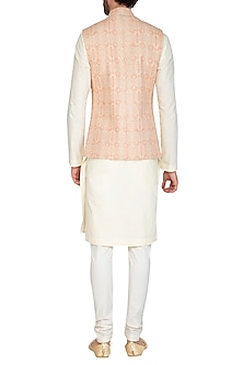 Blush Pink Bhagalpuri Printed Jacket With Beige Kurta Set by Nautanky By Nilesh Parashar Men