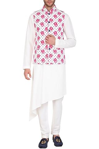 White & Pink Printed Jacket With Kurta Set by Nautanky By Nilesh Parashar Men