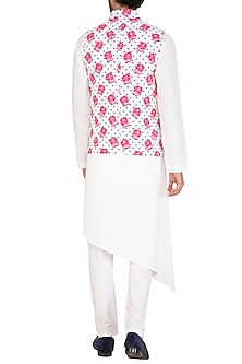 White & Pink Printed Jacket With Kurta Set by Nautanky By Nilesh Parashar Men