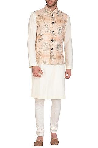Beige & Rust Printed Jacket With Kurta Set by Nautanky By Nilesh Parashar Men