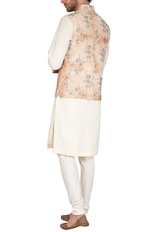 Beige & Rust Printed Jacket With Kurta Set by Nautanky By Nilesh Parashar Men
