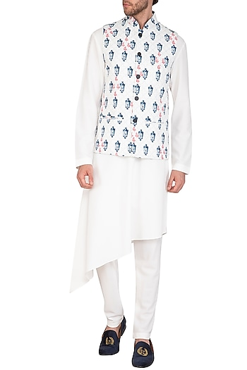 White & Blue Printed Jacket With Asymmetrical Kurta Set by Nautanky By Nilesh Parashar Men