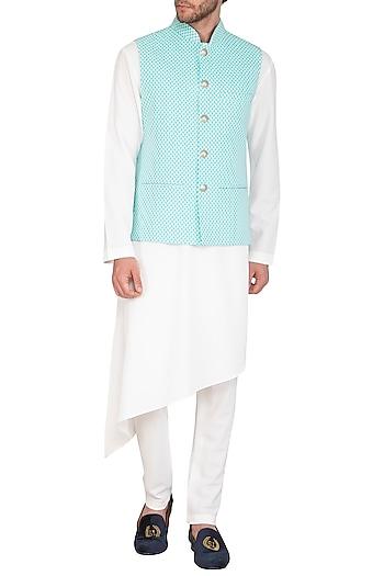 White Kurta Set With Powder Blue Printed Jacket by Nautanky By Nilesh Parashar Men