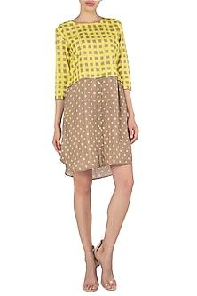 A Polka and Check Cotton Silk Khadi Shirt Dress by Nautanky By Nilesh Parashar