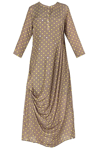Pleated Polka Drape Cotton Silk Dress by Nautanky By Nilesh Parashar