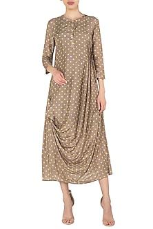 Pleated Polka Drape Cotton Silk Dress by Nautanky By Nilesh Parashar
