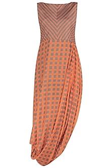 A Cotton Silk Khardi Drape Dress by Nautanky By Nilesh Parashar