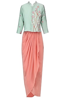 Duck egg embroidered jacket with millenium pink ruffle skirt by Nautanky By Nilesh Parashar