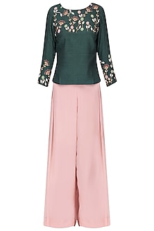 Poison green embroidered top with blush pink pants  by Nautanky By Nilesh Parashar