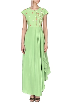 Mint floral embroidered pleated gown by Nautanky By Nilesh Parashar