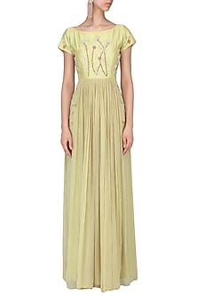 Olive floral embroidered gathered maxi dress by Nautanky By Nilesh Parashar
