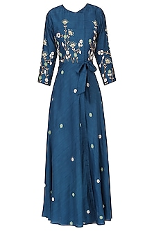 Teal floral embroidered wrap dress by Nautanky By Nilesh Parashar