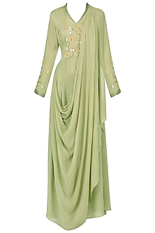Olive embroidered victorain drape kurta with pants by Nautanky By Nilesh Parashar