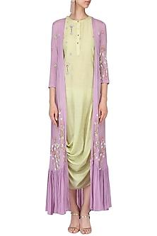 Olive drape dress with lilac embroidered cape by Nautanky By Nilesh Parashar
