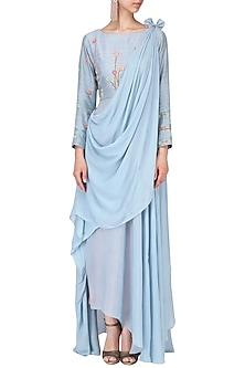 Powder blue and pink embroidered drape lehenga set by Nautanky By Nilesh Parashar