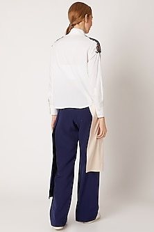 White Shirt With 3D Embellishment by Nori