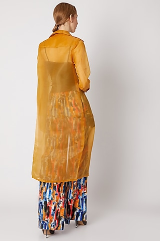 Mustard Trench Coat With Front Opening by Nori