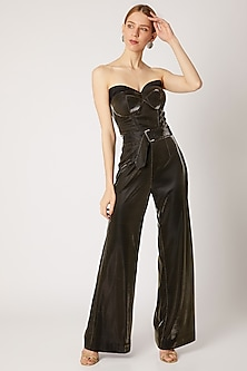 Gold High Waisted Pants With Belt by Nori
