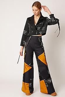 Black Digital Printed Cropped Jacket by Nori