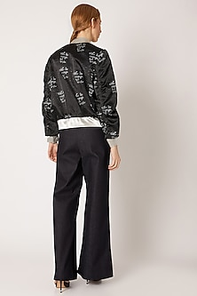 Black Bomber Jacket With Digital Print & Embroidery by Nori