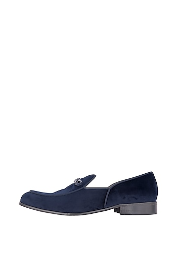 Navy Blue Modern Belgian Loafer Shoes by Nopelle