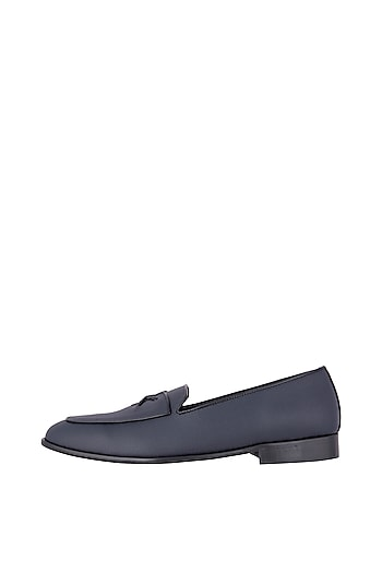 Navy Blue Freddy Loafer Shoes by Nopelle