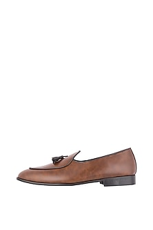 Tan Belgian Tassel Loafer Shoes by Nopelle
